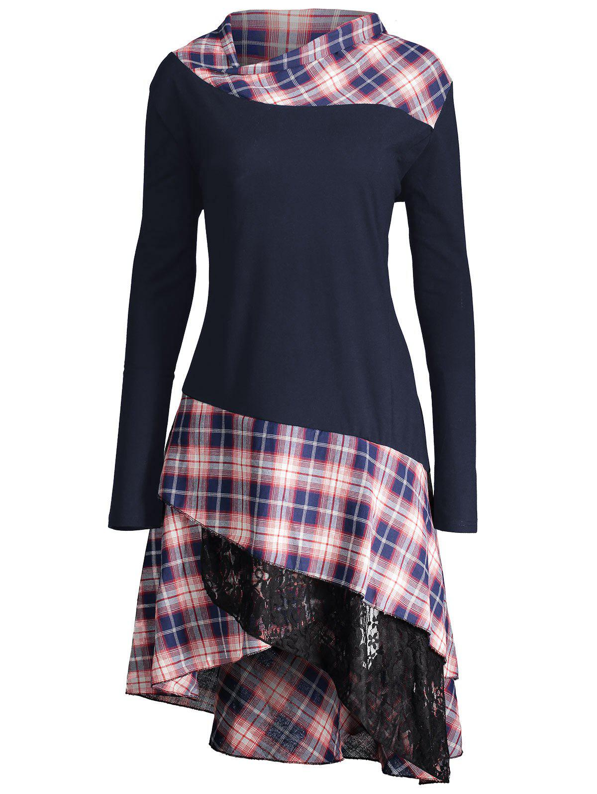 Long Plus Size Lace Plaid Panel TopWOMEN<br><br>Size: XL; Color: PURPLISH BLUE; Material: Polyester,Spandex; Shirt Length: Long; Sleeve Length: Full; Collar: Mock Neck; Style: Fashion; Season: Fall,Spring; Pattern Type: Plaid; Weight: 0.4100kg; Package Contents: 1 x Top;