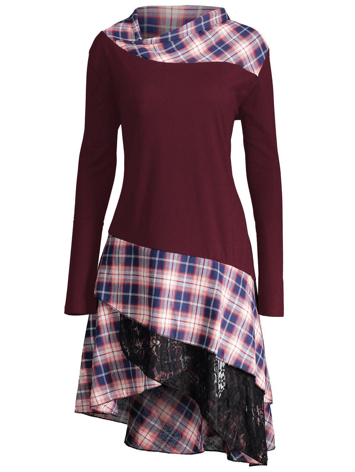 Long Plus Size Lace Plaid Panel TopWOMEN<br><br>Size: 3XL; Color: WINE RED; Material: Polyester,Spandex; Shirt Length: Long; Sleeve Length: Full; Collar: Mock Neck; Style: Fashion; Season: Fall,Spring; Pattern Type: Plaid; Weight: 0.4100kg; Package Contents: 1 x Top;