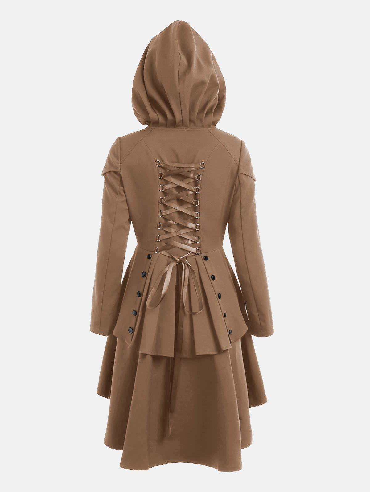 Lace Up Layered High Low Hooded CoatWOMEN<br><br>Size: 2XL; Color: KHAKI; Clothes Type: Others; Material: Polyester; Type: High Waist; Shirt Length: Long; Sleeve Length: Full; Collar: Hooded; Closure Type: Single Breasted; Pattern Type: Solid; Embellishment: Criss-Cross; Style: Gothic; Season: Fall,Spring; With Belt: No; Weight: 0.6600kg; Package Contents: 1 x Coat;