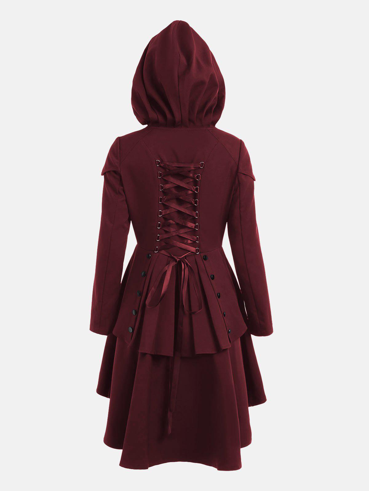 Lace Up Layered High Low Hooded CoatWOMEN<br><br>Size: L; Color: WINE RED; Clothes Type: Others; Material: Polyester; Type: High Waist; Shirt Length: Long; Sleeve Length: Full; Collar: Hooded; Closure Type: Single Breasted; Pattern Type: Solid; Embellishment: Criss-Cross; Style: Gothic; Season: Fall,Spring; With Belt: No; Weight: 0.6600kg; Package Contents: 1 x Coat;