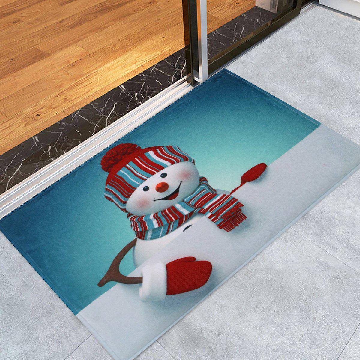 Christmas Snowman Skidproof Bath MatHOME<br><br>Size: W16 INCH * L24 INCH; Color: COLORMIX; Products Type: Bath rugs; Materials: Coral FLeece; Style: Festival; Shape: Rectangular; Package Contents: 1 x Rug;