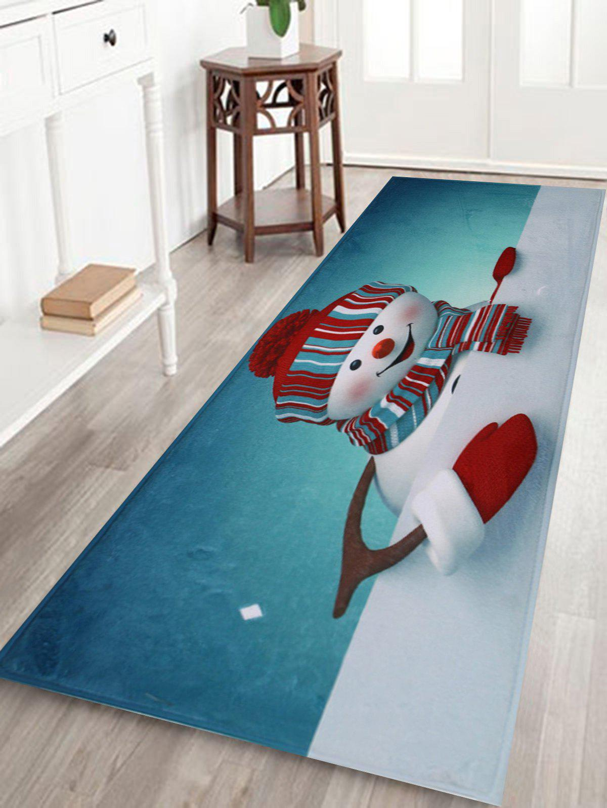 Christmas Snowman Skidproof Bath MatHOME<br><br>Size: W16 INCH * L47 INCH; Color: COLORMIX; Products Type: Bath rugs; Materials: Coral FLeece; Style: Festival; Shape: Rectangular; Package Contents: 1 x Rug;