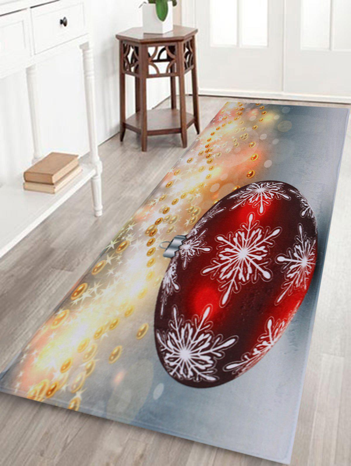 Christmas Ball Print Antislip Bathroom RugHOME<br><br>Size: W16 INCH * L47 INCH; Color: GRAY; Products Type: Bath rugs; Materials: Coral FLeece; Pattern: Ball; Style: Festival; Shape: Rectangular; Package Contents: 1 x Rug;