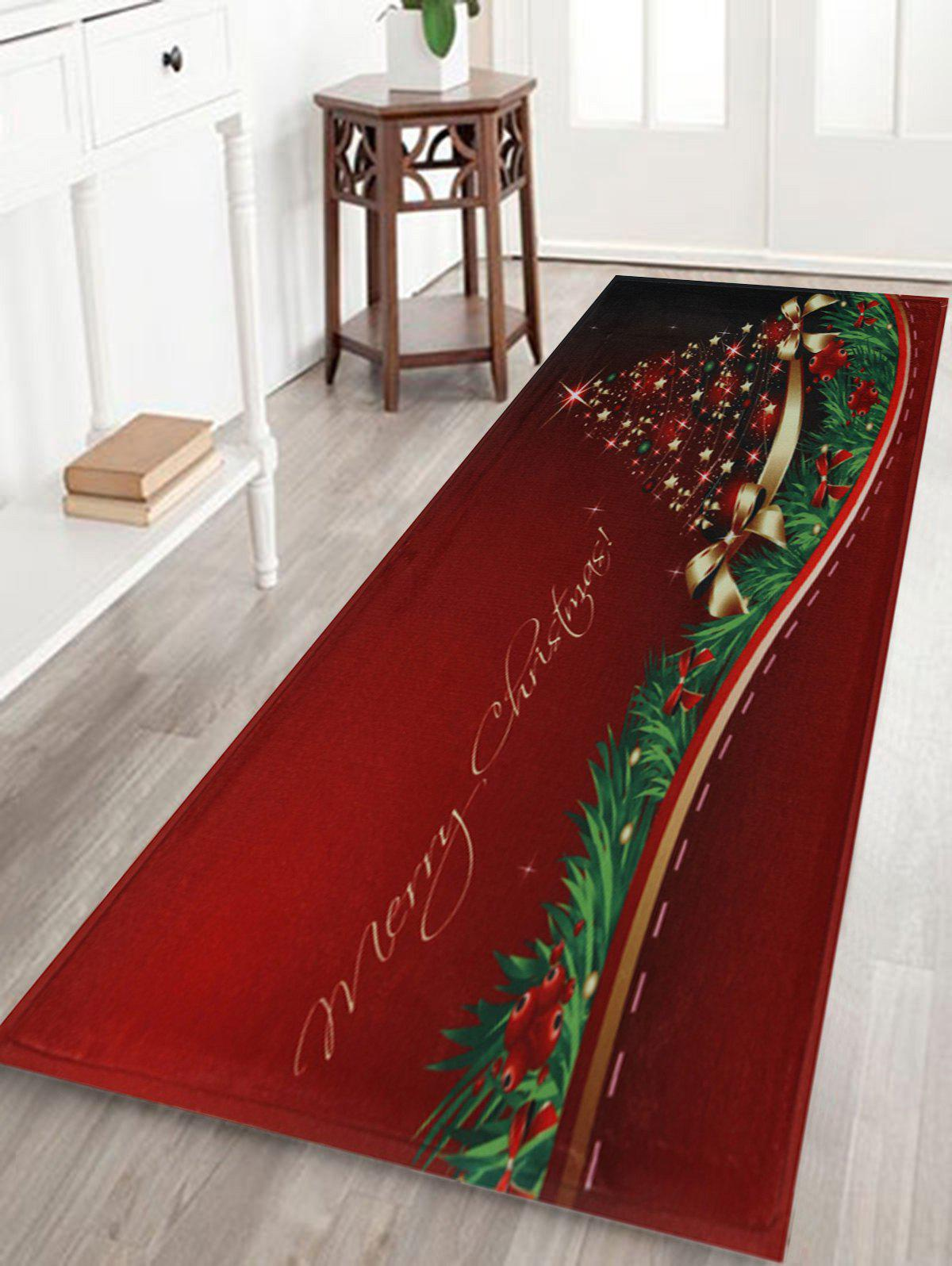 Christmas Tree Print Antislip Bath MatHOME<br><br>Size: W16 INCH * L47 INCH; Color: RED; Products Type: Bath rugs; Materials: Coral FLeece; Pattern: Letter,Plant; Style: Festival; Shape: Rectangular; Package Contents: 1 x Rug;