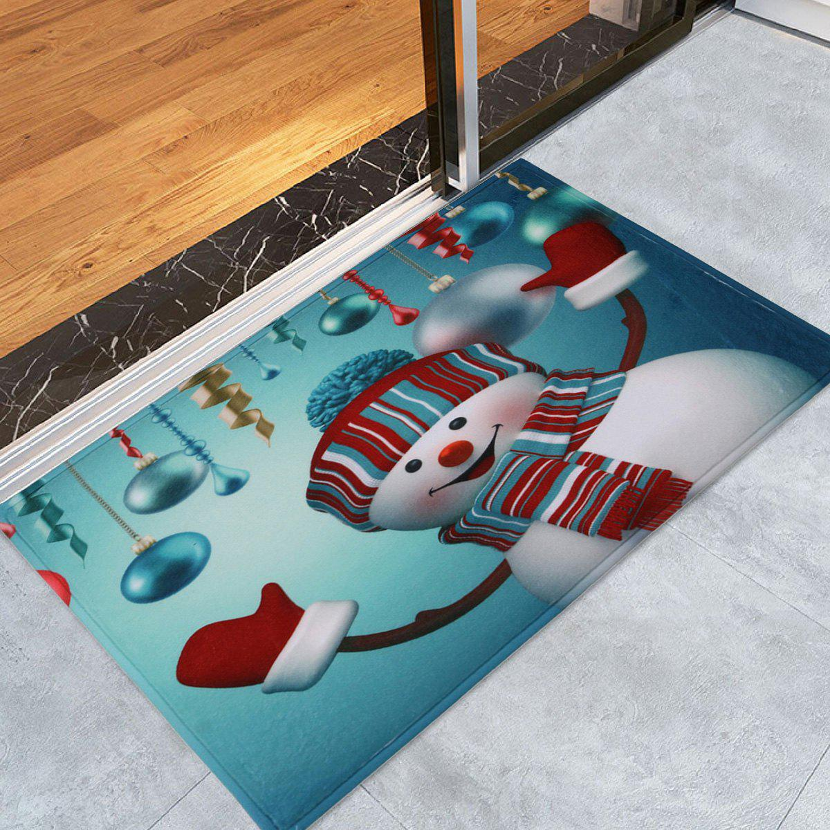 Antislip Christmas Snowman Print Bath MatHOME<br><br>Size: W16 INCH * L24 INCH; Color: SEASIDE; Products Type: Bath rugs; Materials: Coral FLeece; Pattern: Ball; Style: Festival; Shape: Rectangular; Package Contents: 1 x Rug;