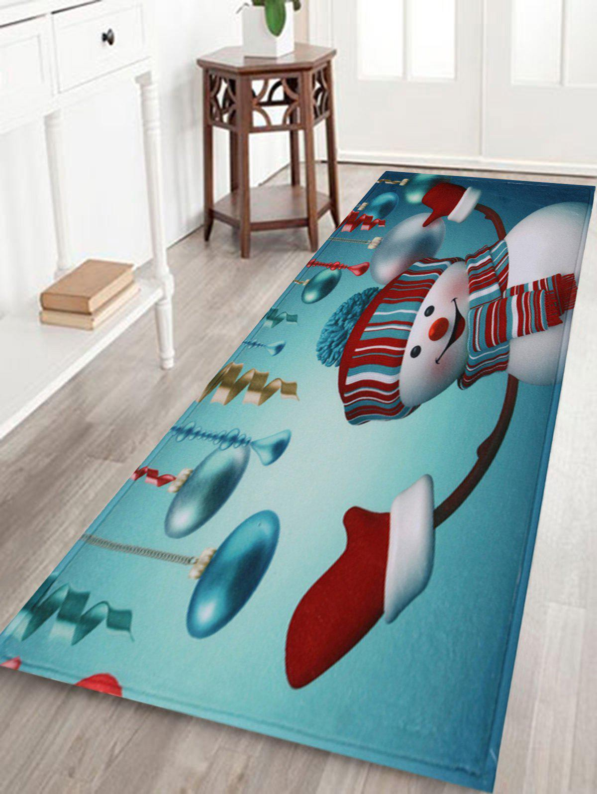 Antislip Christmas Snowman Print Bath MatHOME<br><br>Size: W16 INCH * L47 INCH; Color: SEASIDE; Products Type: Bath rugs; Materials: Coral FLeece; Pattern: Ball; Style: Festival; Shape: Rectangular; Package Contents: 1 x Rug;