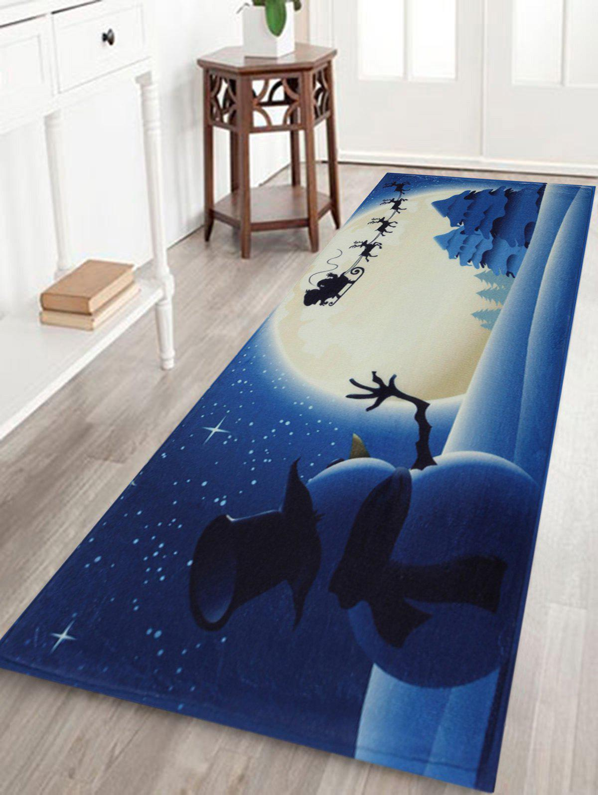Christmas Snowman Moon Tree Antiskid Bath MatHOME<br><br>Size: W16 INCH * L47 INCH; Color: BLUE; Products Type: Bath rugs; Materials: Coral FLeece; Pattern: Print; Style: Festival; Shape: Rectangular; Package Contents: 1 x Rug;