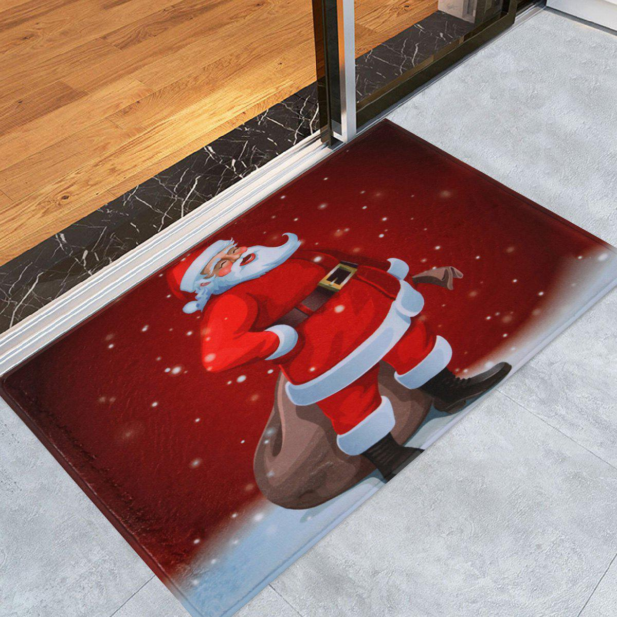 Christmas Graphic Santa Claus Antiskid Bath RugHOME<br><br>Size: W24 INCH * L35.5 INCH; Color: RED; Products Type: Bath rugs; Materials: Coral FLeece; Style: Festival; Shape: Rectangular; Package Contents: 1 x Rug;