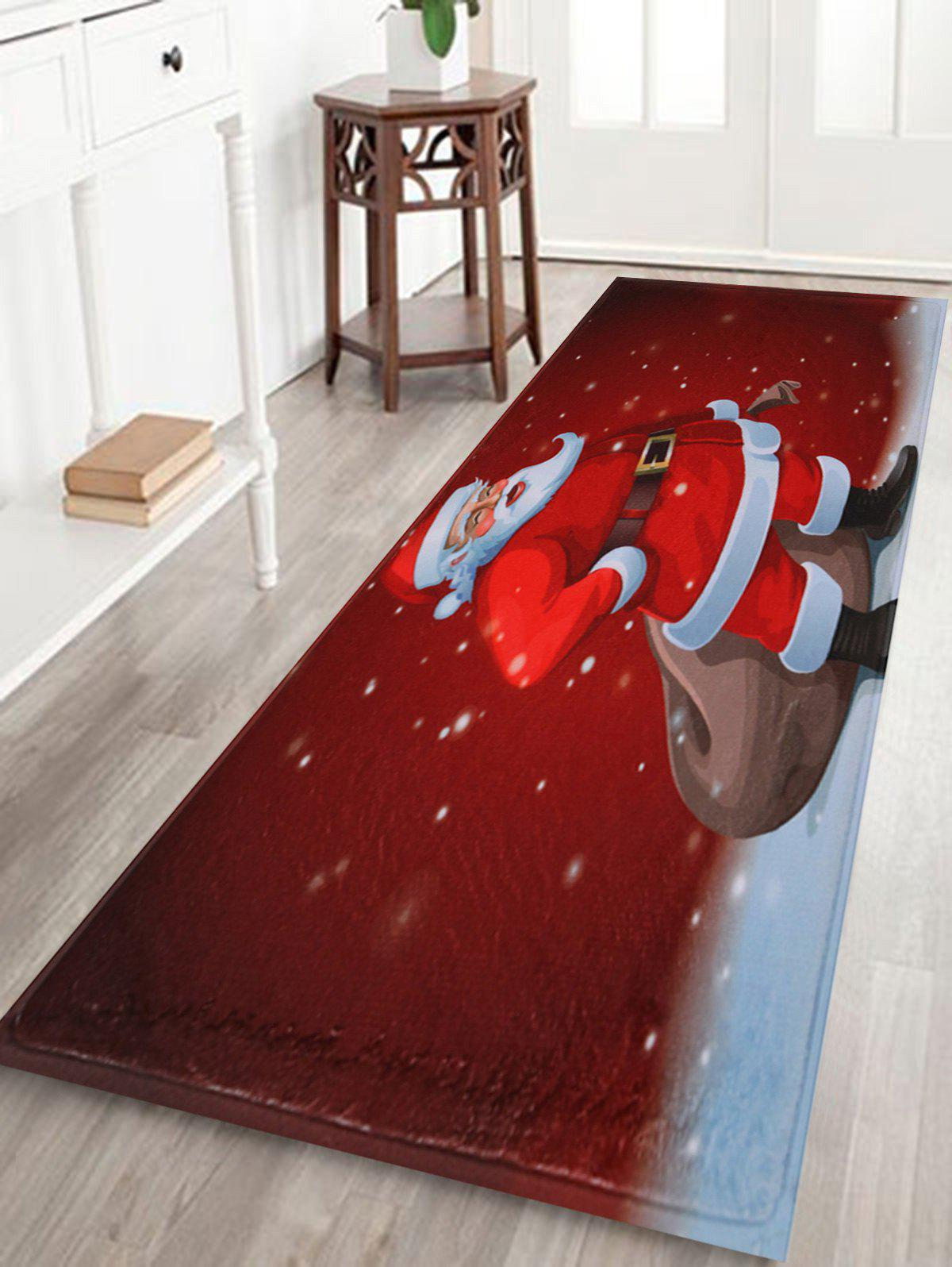Christmas Graphic Santa Claus Antiskid Bath RugHOME<br><br>Size: W16 INCH * L47 INCH; Color: RED; Products Type: Bath rugs; Materials: Coral FLeece; Style: Festival; Shape: Rectangular; Package Contents: 1 x Rug;