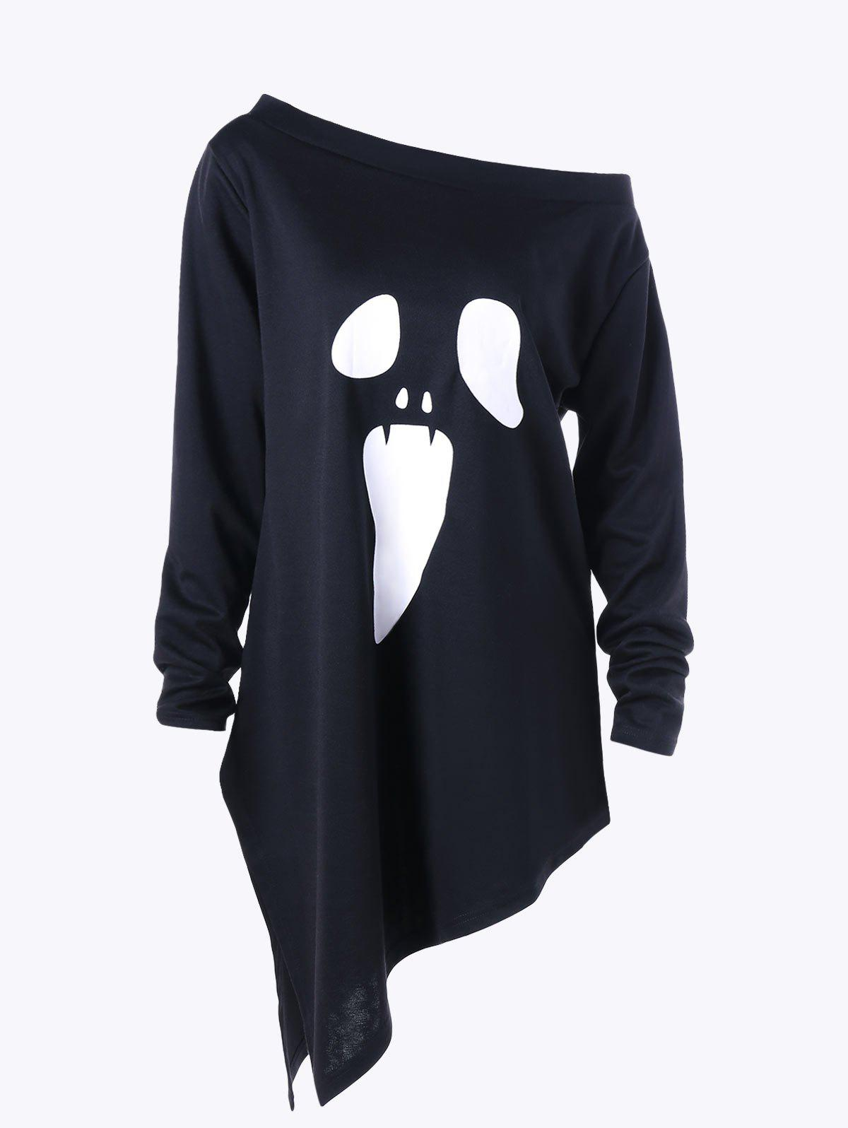 Halloween Plus Size Graphic Asymmetric Skew Neck Sweatshirt