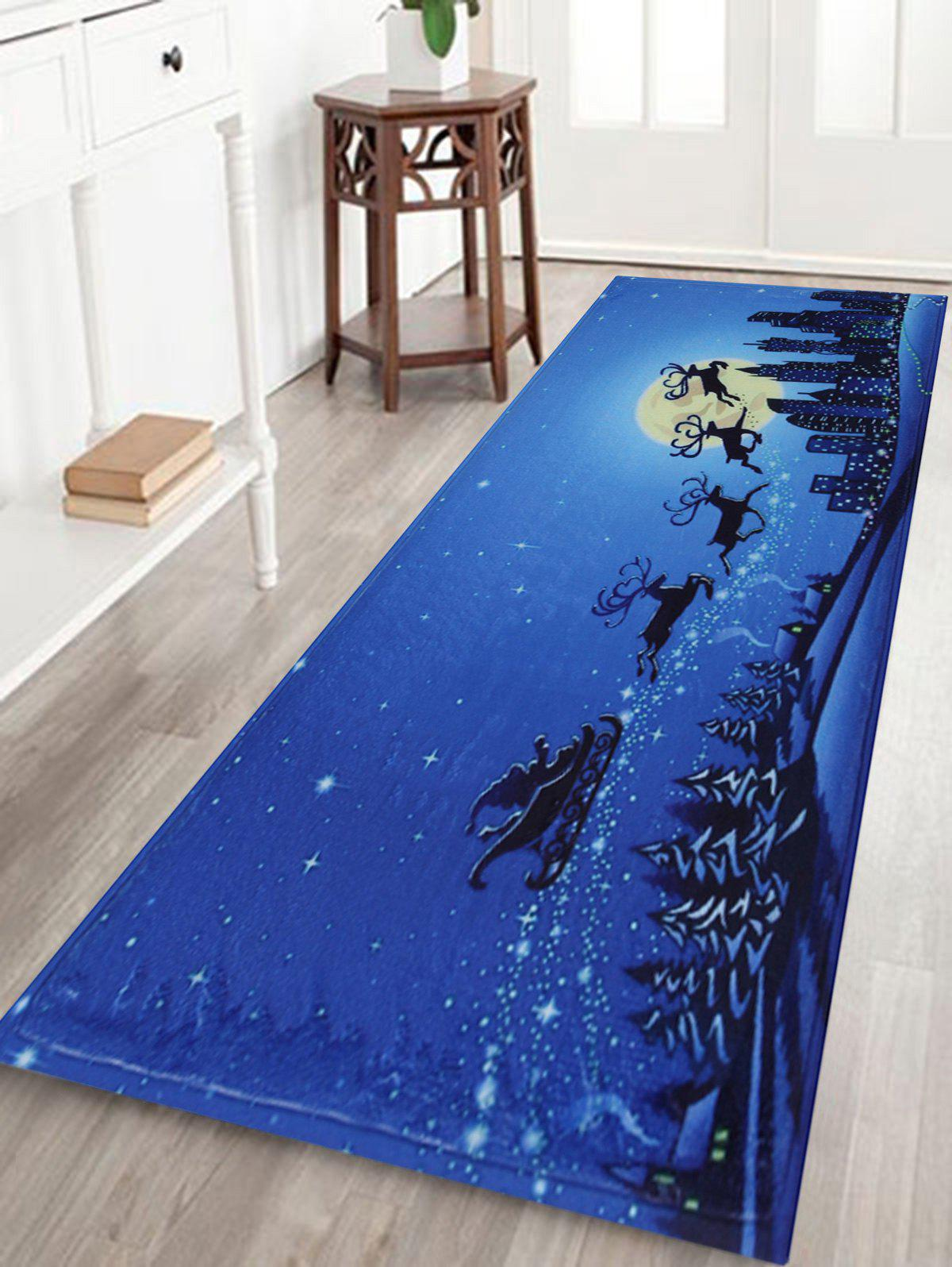 Skidproof Christmas Moonlight City Bath RugHOME<br><br>Size: W16 INCH * L47 INCH; Color: BLUE; Products Type: Bath rugs; Materials: Coral FLeece; Pattern: Animal; Style: Festival; Shape: Rectangular; Package Contents: 1 x Rug;