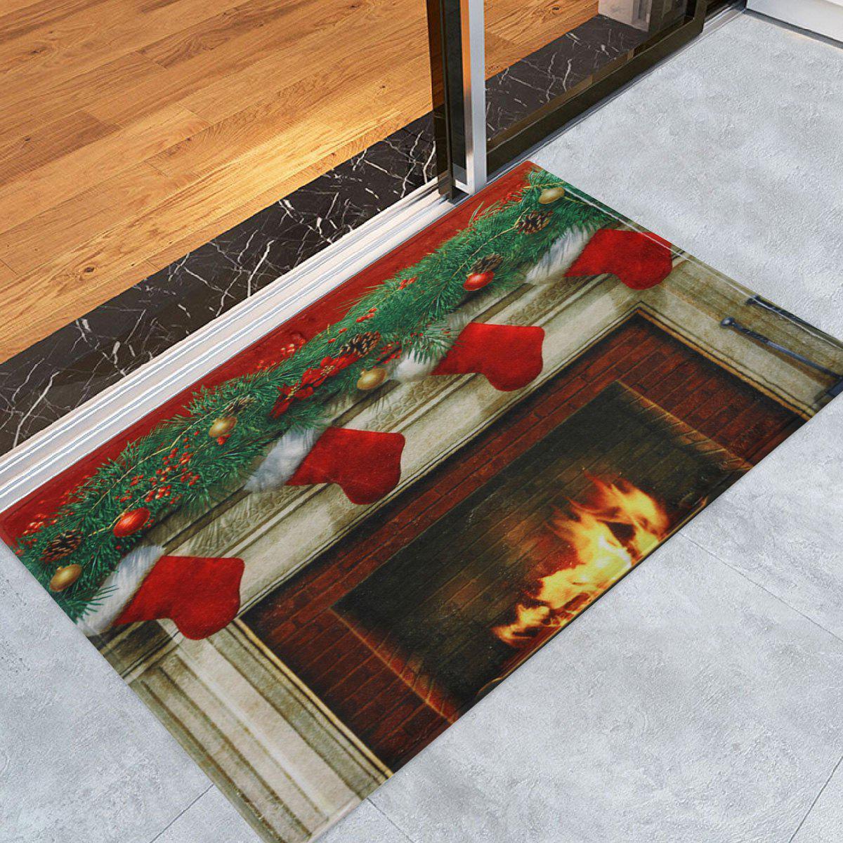 Christmas Fireplace Socks Antiskid Bath RugHOME<br><br>Size: W24 INCH * L35.5 INCH; Color: COLORMIX; Products Type: Bath rugs; Materials: Coral FLeece; Style: Festival; Shape: Rectangular; Package Contents: 1 x Rug;