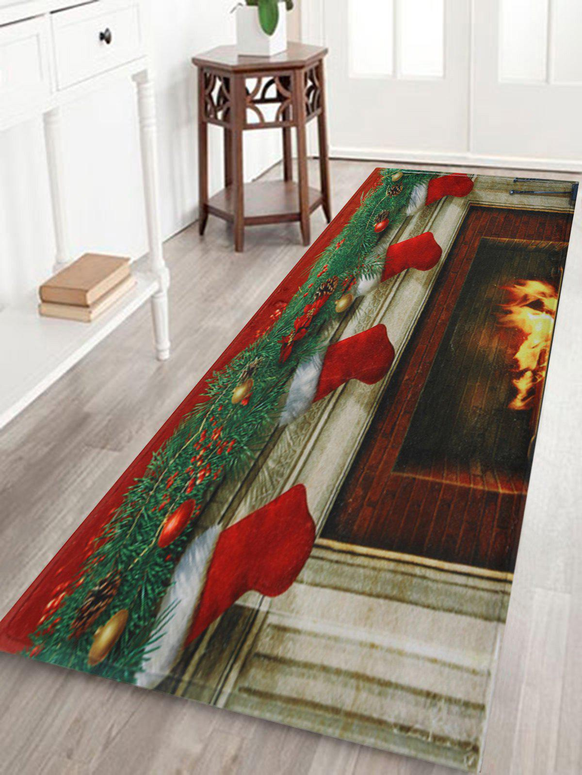 Christmas Fireplace Socks Antiskid Bath RugHOME<br><br>Size: W24 INCH * L71 INCH; Color: COLORMIX; Products Type: Bath rugs; Materials: Coral FLeece; Style: Festival; Shape: Rectangular; Package Contents: 1 x Rug;