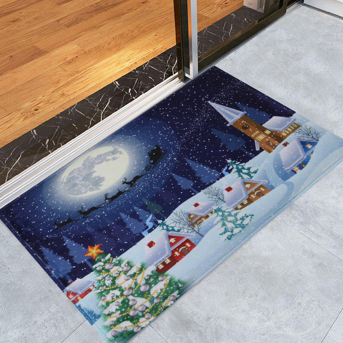 Bathroom Antiskid Christmas Tree Snow Moon RugHOME<br><br>Size: W16 INCH * L24 INCH; Color: BLUE; Products Type: Bath rugs; Materials: Coral FLeece; Pattern: Moon; Style: Festival; Shape: Rectangular; Package Contents: 1 x Rug;