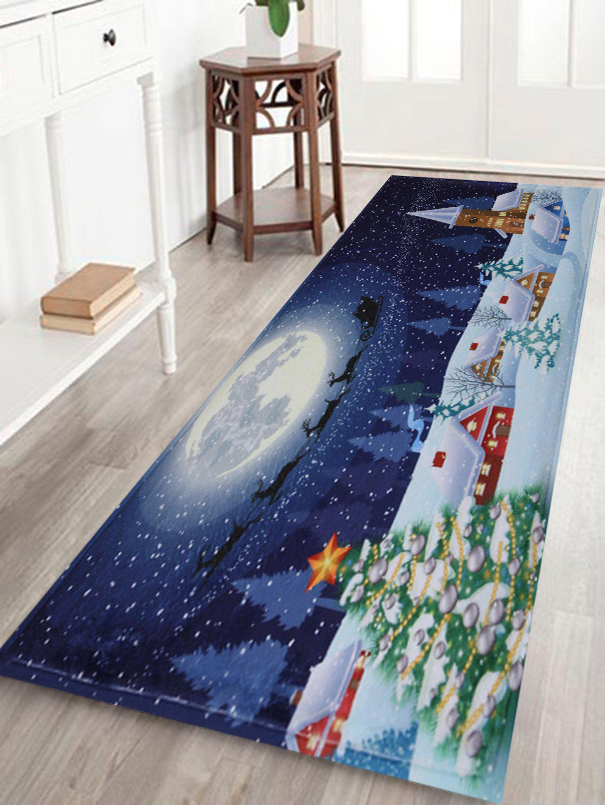 Bathroom Antiskid Christmas Tree Snow Moon RugHOME<br><br>Size: W24 INCH * L71 INCH; Color: BLUE; Products Type: Bath rugs; Materials: Coral FLeece; Pattern: Moon; Style: Festival; Shape: Rectangular; Package Contents: 1 x Rug;