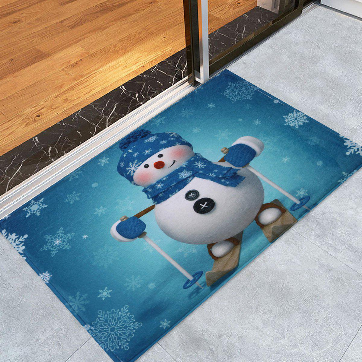 Antislip Christmas Snowman Print Bath RugHOME<br><br>Size: W24 INCH * L35.5 INCH; Color: TURQUOISE; Products Type: Bath rugs; Materials: Coral FLeece; Style: Festival; Shape: Rectangular; Package Contents: 1 x Rug;
