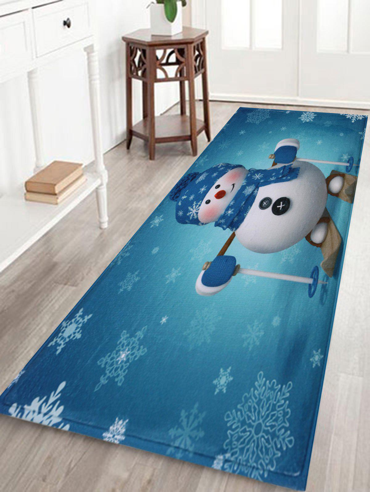 Antislip Christmas Snowman Print Bath RugHOME<br><br>Size: W16 INCH * L47 INCH; Color: TURQUOISE; Products Type: Bath rugs; Materials: Coral FLeece; Style: Festival; Shape: Rectangular; Package Contents: 1 x Rug;