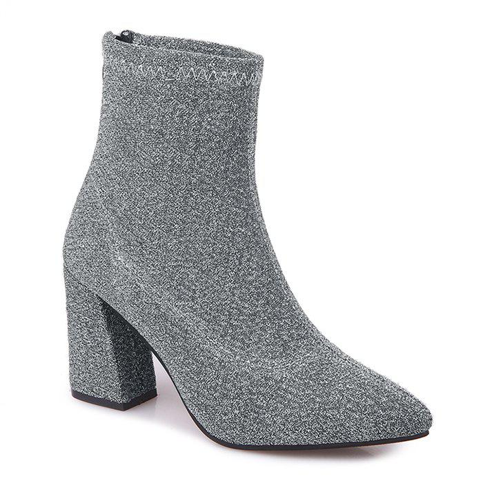 Cheap Glitter Zipper Pointed Toe Ankle Boots