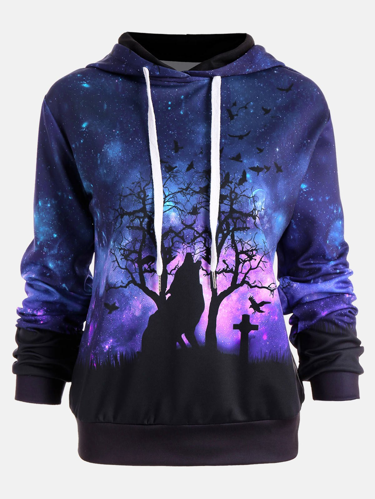 Fancy Halloween Galaxy Wolf Print Drawstring Hoodie