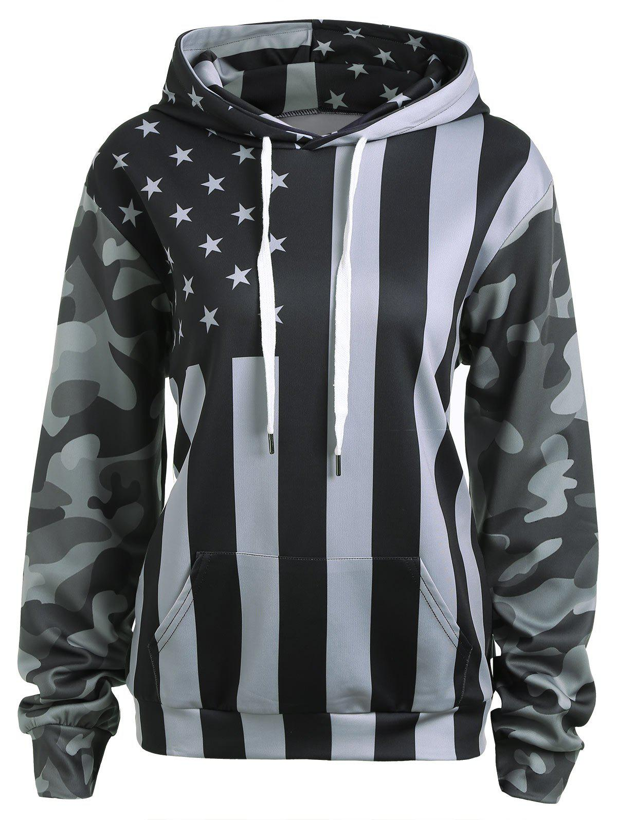 Drawstring Patriotic American Flag Camo HoodieWOMEN<br><br>Size: L; Color: BLACK AND GREY; Material: Cotton,Polyester; Shirt Length: Regular; Sleeve Length: Full; Style: Casual; Pattern Style: American Flag; Season: Fall; Weight: 0.4500kg; Package Contents: 1 x Hoodie;