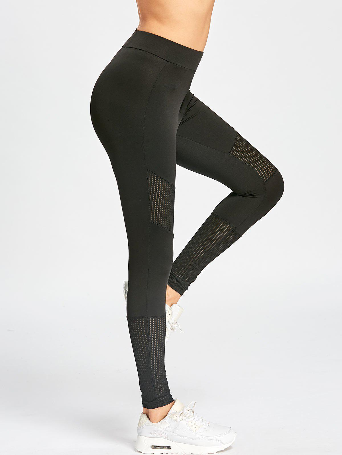 High Waisted Skinny Sport LeggingsWOMEN<br><br>Size: XL; Color: BLACK; Style: Casual; Material: Cotton,Polyester; Waist Type: High; Pattern Type: Solid; Weight: 0.3500kg; Package Contents: 1 x Leggings;