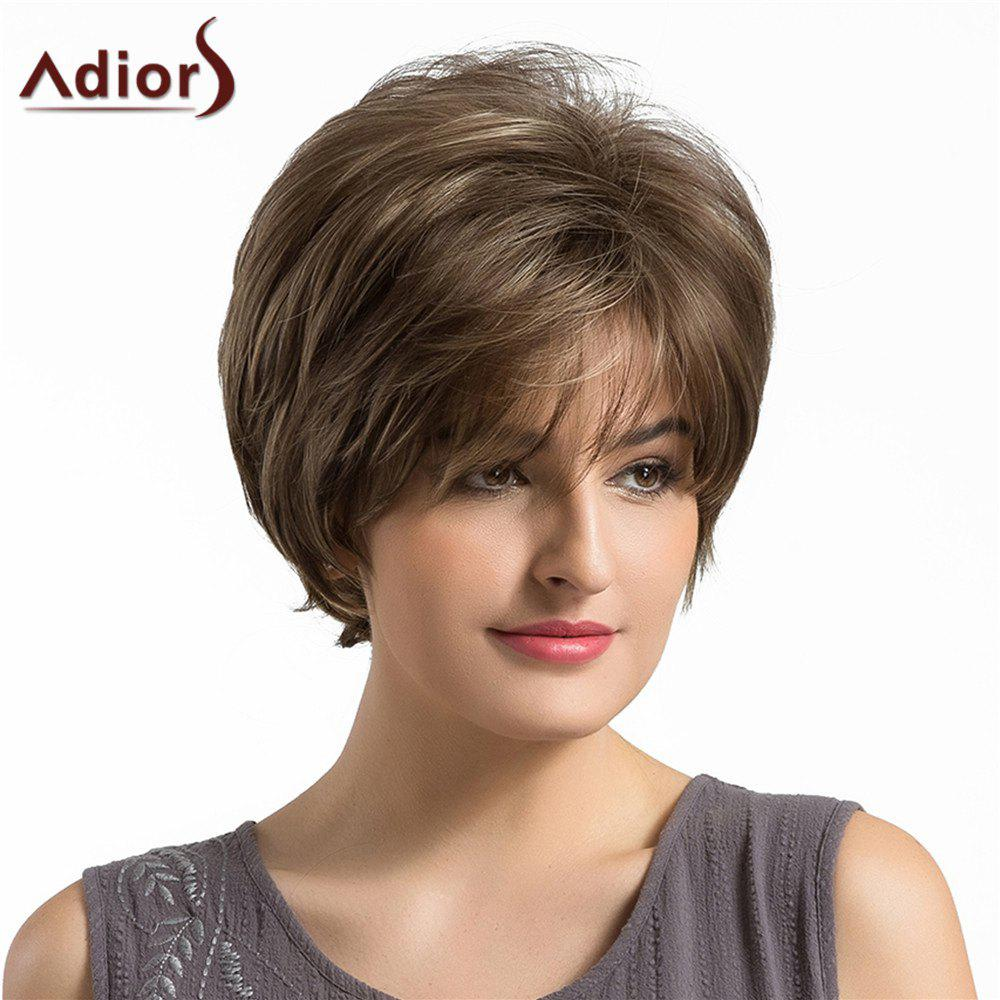Adiors Short Side Bang Fluffy Layered Elegant Straight Synthetic WigHAIR<br><br>Color: BROWN; Type: Full Wigs; Cap Construction: Capless (Machine-Made); Style: Straight; Material: Synthetic Hair; Bang Type: Side; Length: Short; Length Size(CM): 28; Weight: 0.1050kg; Package Contents: 1 x Wig;