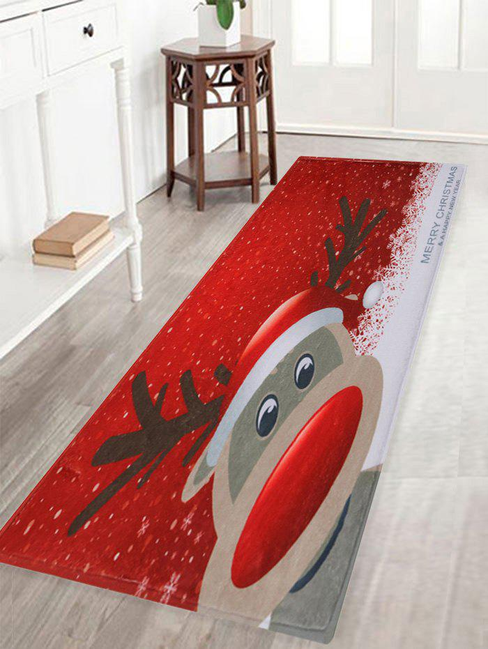 Christmas Deer Pattern Anti-skid Water Absorption Area RugHOME<br><br>Size: W16 INCH * L47 INCH; Color: RED; Products Type: Bath rugs; Materials: Coral FLeece; Pattern: Animal,Cartoon; Style: Festival; Shape: Rectangle; Package Contents: 1 x Rug;