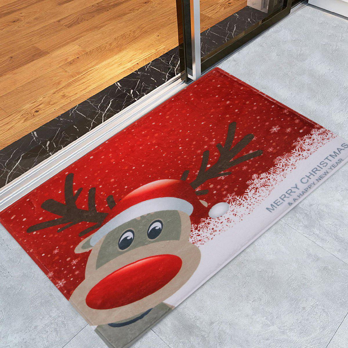 Christmas Deer Pattern Anti-skid Water Absorption Area RugHOME<br><br>Size: W16 INCH * L24 INCH; Color: RED; Products Type: Bath rugs; Materials: Coral FLeece; Pattern: Animal,Cartoon; Style: Festival; Shape: Rectangle; Package Contents: 1 x Rug;