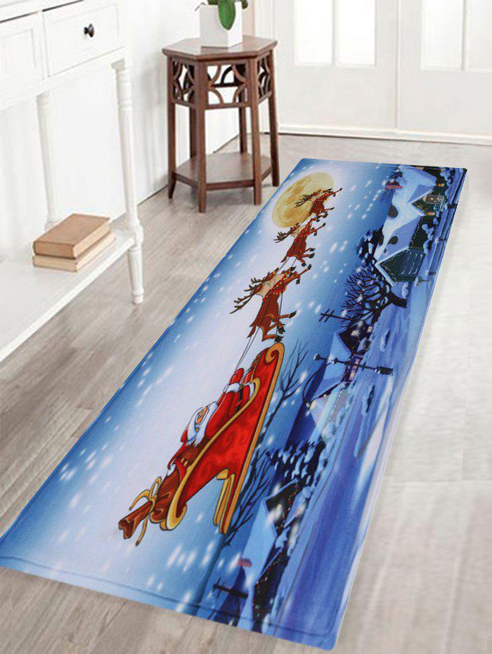 Christmas Santa Sleigh Pattern Anti-skid Water Absorption Area RugHOME<br><br>Size: W16 INCH * L47 INCH; Color: COLORMIX; Products Type: Bath rugs; Materials: Coral FLeece; Pattern: Animal; Style: Festival; Shape: Rectangle; Package Contents: 1 x Rug;