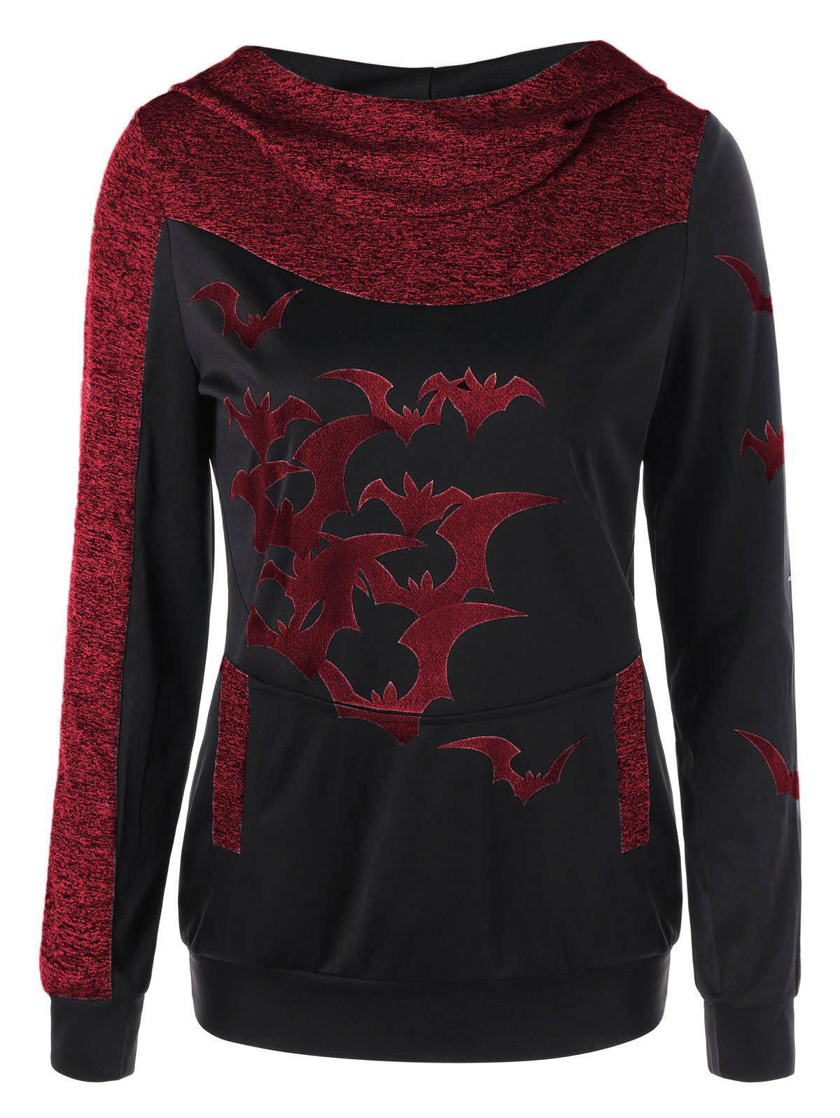 Halloween Marled Bat Print HoodieWOMEN<br><br>Size: 2XL; Color: RED; Material: Rayon,Spandex; Shirt Length: Regular; Sleeve Length: Full; Style: Casual; Pattern Style: Animal; Season: Fall,Spring; Weight: 0.3400kg; Package Contents: 1 x Hoodie;