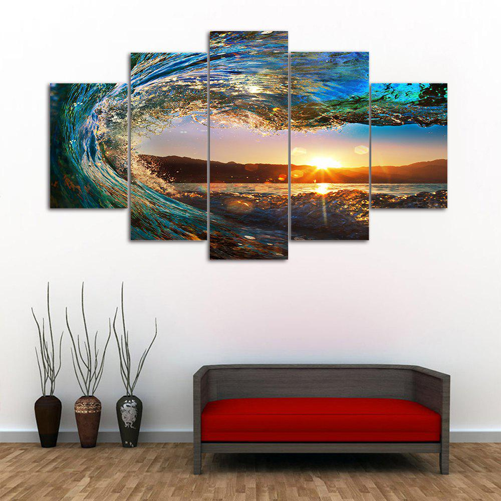 Sunset Wave Print Unframed Split Canvas Painting