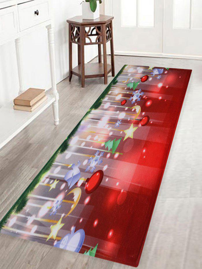 Christmas Baubles Stars Pattern Anti-Skid Water Absorption Area RugHOME<br><br>Size: W16 INCH * L47 INCH; Color: COLORMIX; Products Type: Bath rugs; Materials: Coral FLeece; Pattern: Moon,Star; Style: Festival; Shape: Rectangle; Package Contents: 1 x Rug;
