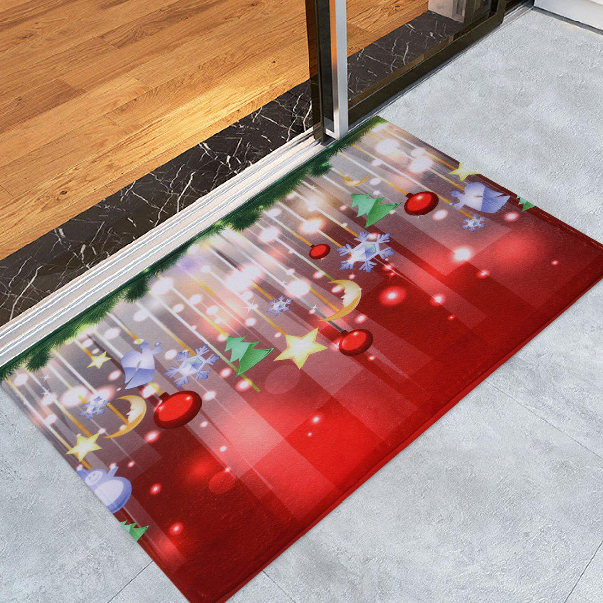 Christmas Baubles Stars Pattern Anti-Skid Water Absorption Area RugHOME<br><br>Size: W16 INCH * L24 INCH; Color: COLORMIX; Products Type: Bath rugs; Materials: Coral FLeece; Pattern: Moon,Star; Style: Festival; Shape: Rectangle; Package Contents: 1 x Rug;