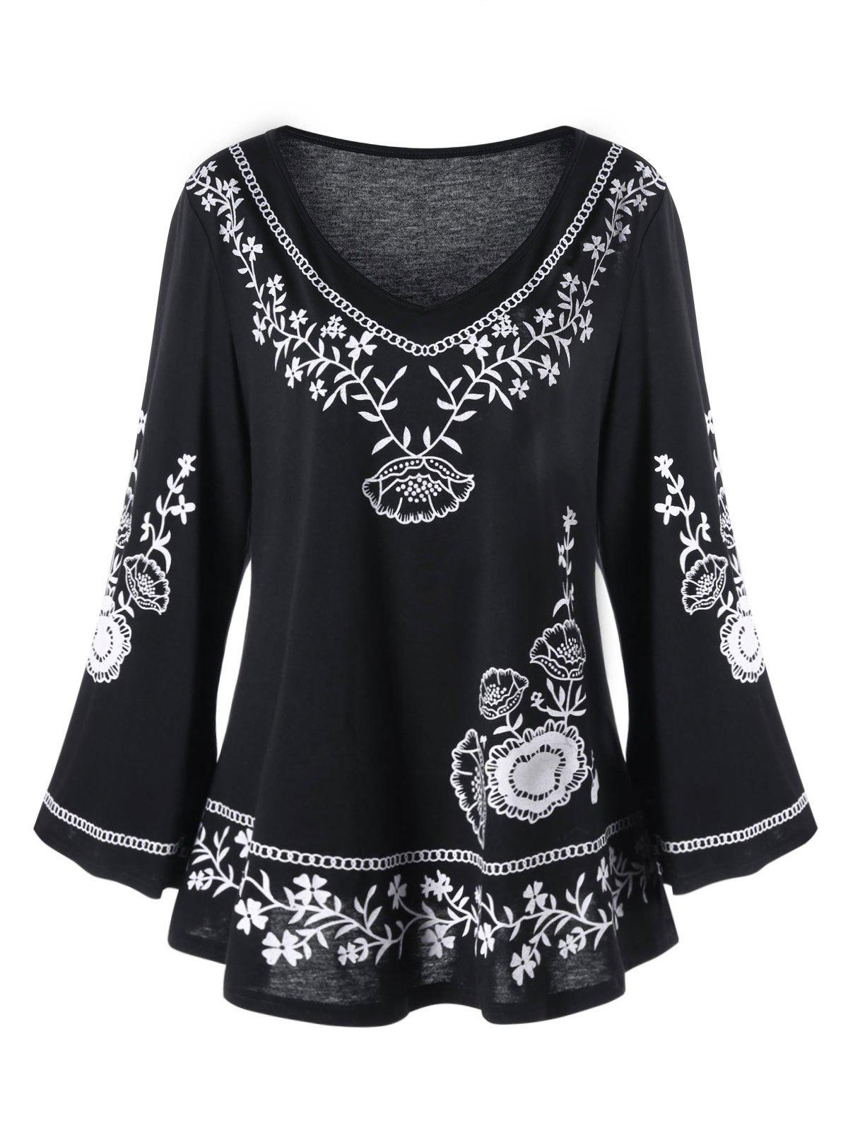 Plus Size Monochrome Floral Bell Sleeve TopWOMEN<br><br>Size: 5XL; Color: BLACK; Material: Polyester,Spandex; Shirt Length: Long; Sleeve Length: Full; Collar: V-Neck; Style: Casual; Season: Fall,Spring; Pattern Type: Floral; Weight: 0.3100kg; Package Contents: 1 x Top;