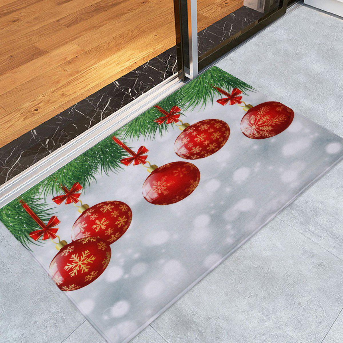 Christmas Baubles Pattern Anti-skid Water Absorption Area RugHOME<br><br>Size: W16 INCH * L24 INCH; Color: COLORMIX; Products Type: Bath rugs; Materials: Coral FLeece; Pattern: Ball,Snowflake; Style: Festival; Shape: Rectangle; Package Contents: 1 x Rug;