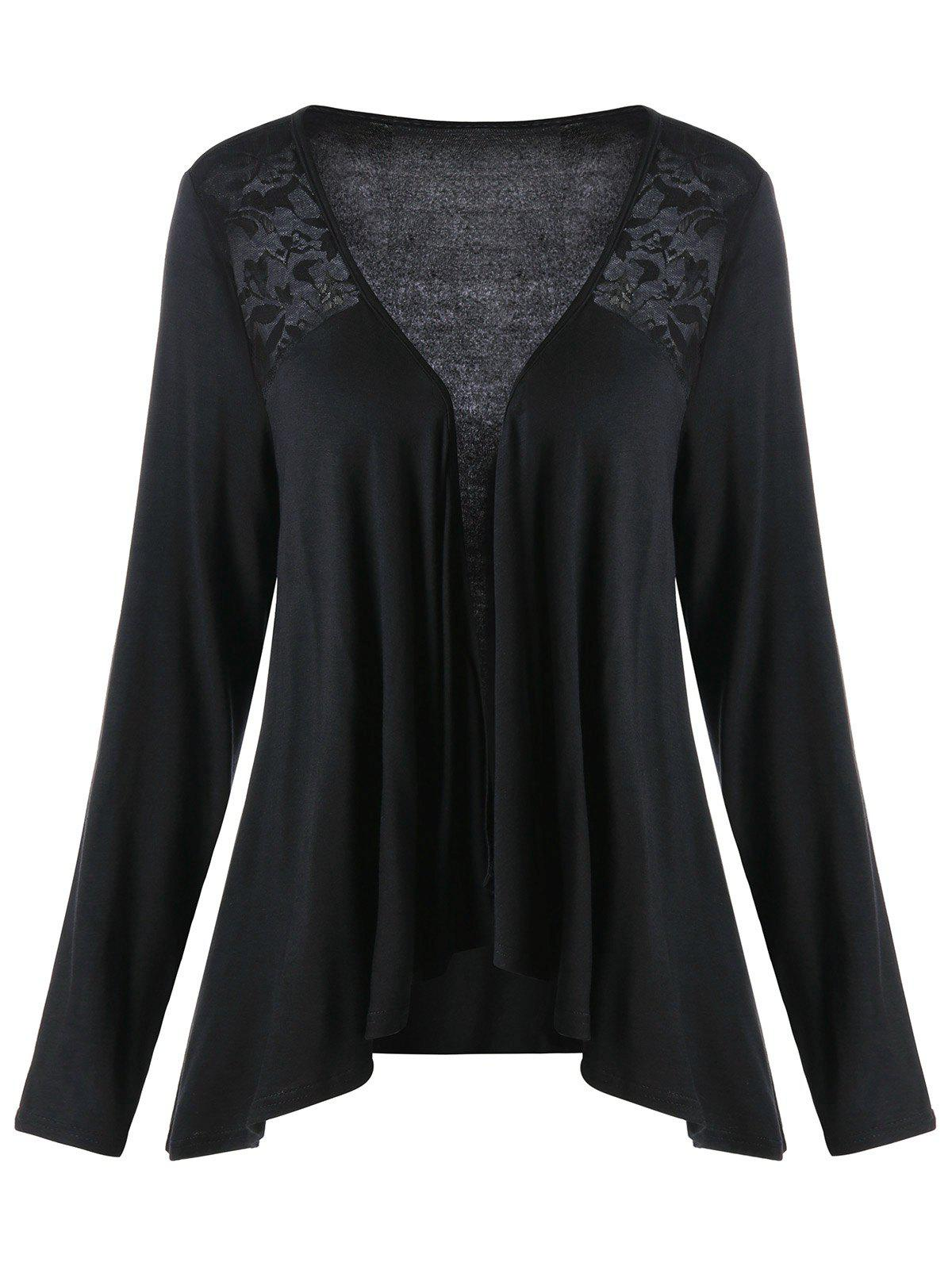Lace Insert Plus Size Drape CardiganWOMEN<br><br>Size: XL; Color: BLACK; Type: Cardigans; Material: Cotton,Polyester; Sleeve Length: Full; Collar: Collarless; Style: Casual; Season: Fall,Spring; Pattern Type: Solid; Weight: 0.3080kg; Package Contents: 1 x Cardigan;