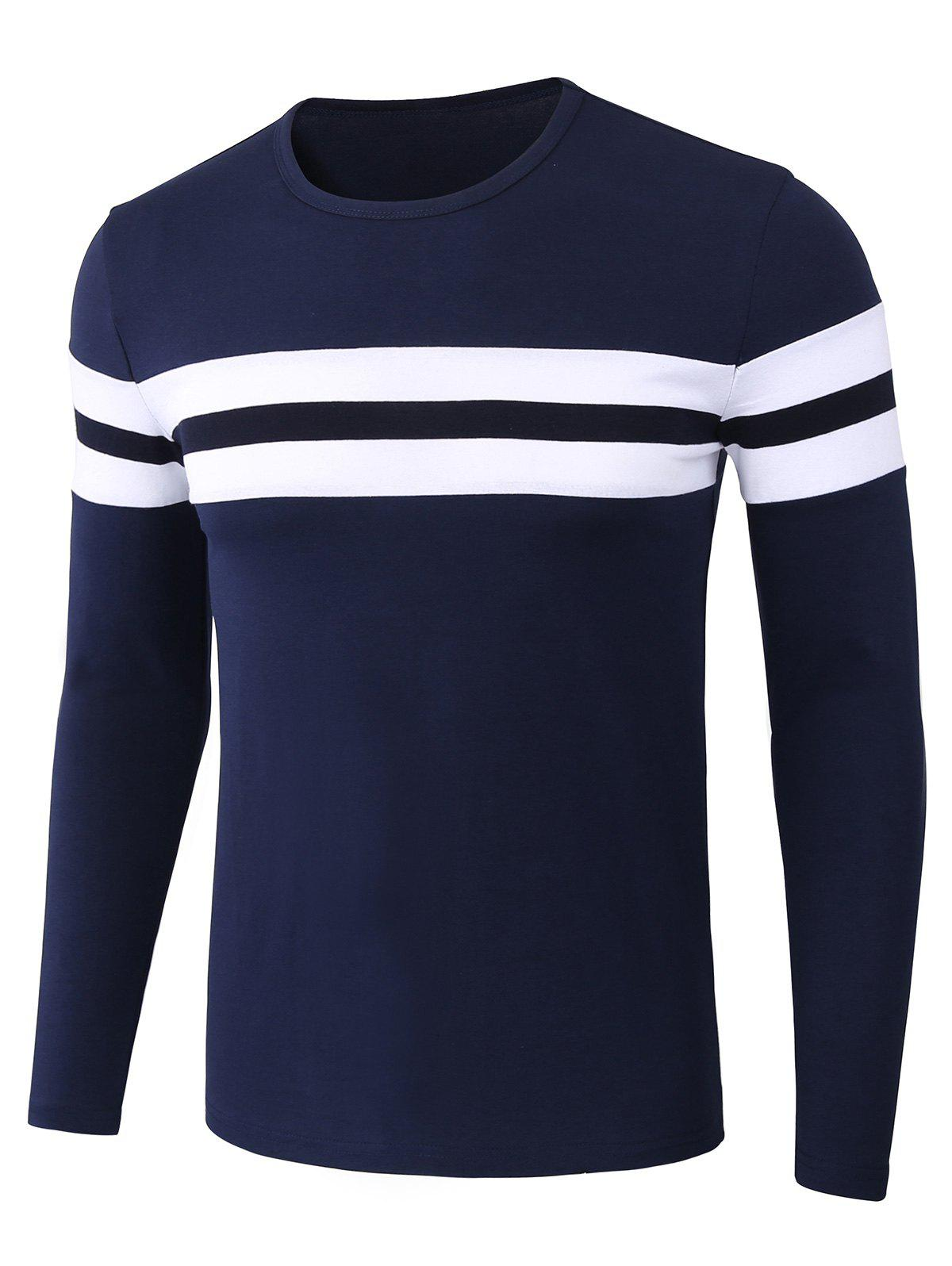Stripe Trim Long Sleeve T-shirtMEN<br><br>Size: 3XL; Color: BLUE; Material: Cotton,Spandex; Sleeve Length: Full; Collar: Crew Neck; Style: Casual,Fashion; Pattern Type: Color Block,Striped; Season: Summer; Weight: 0.3450kg; Package Contents: 1 x T-shirt;