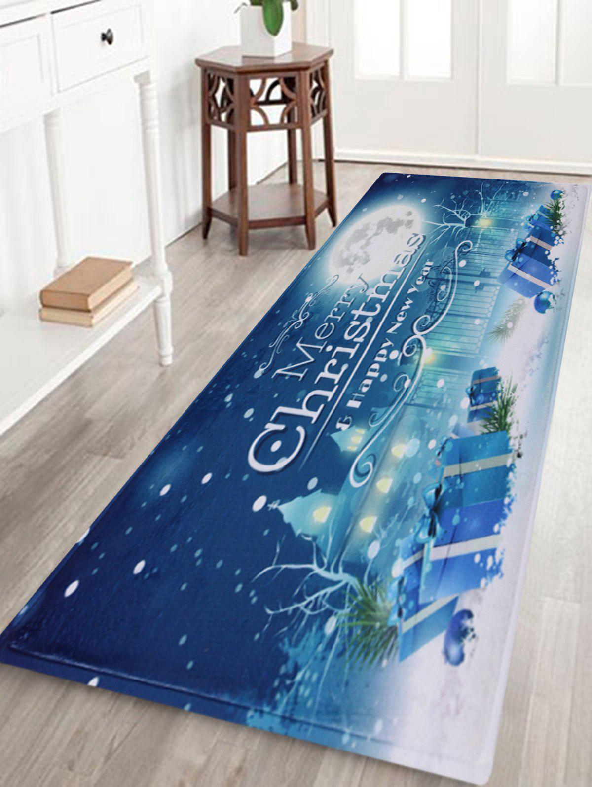 Christmas Night Pattern Anti-skid Water Absorption Area RugHOME<br><br>Size: W24 INCH * L71 INCH; Color: BLUE; Products Type: Bath rugs; Materials: Coral FLeece; Style: Festival; Shape: Rectangle; Package Contents: 1 x Rug;