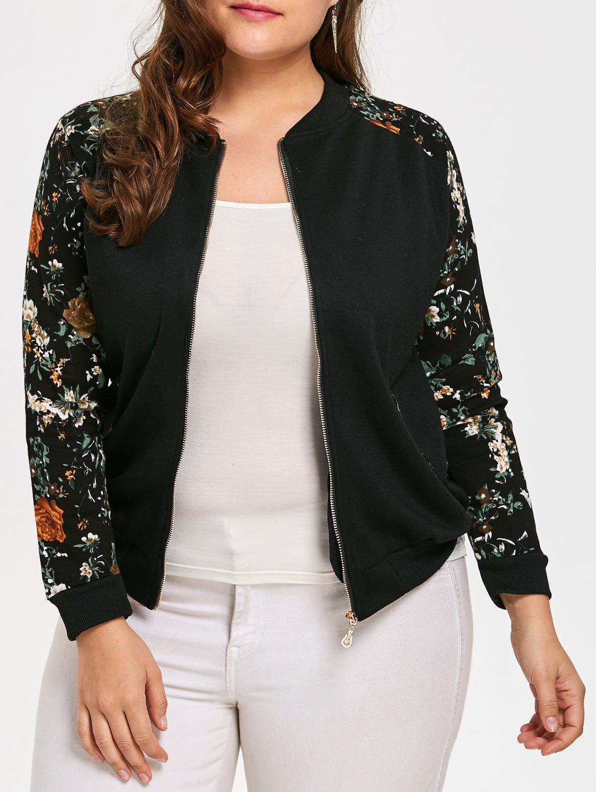 Plus Size Floral Printed Raglan Sleeve  JacketWOMEN<br><br>Size: 5XL; Color: BLACK; Clothes Type: Jackets; Material: Polyester; Type: Slim; Shirt Length: Regular; Sleeve Length: Full; Collar: Round Neck; Closure Type: Zipper; Pattern Type: Floral; Style: Fashion; Season: Fall,Spring,Winter; Weight: 0.4500kg; Package Contents: 1 x Jacket;