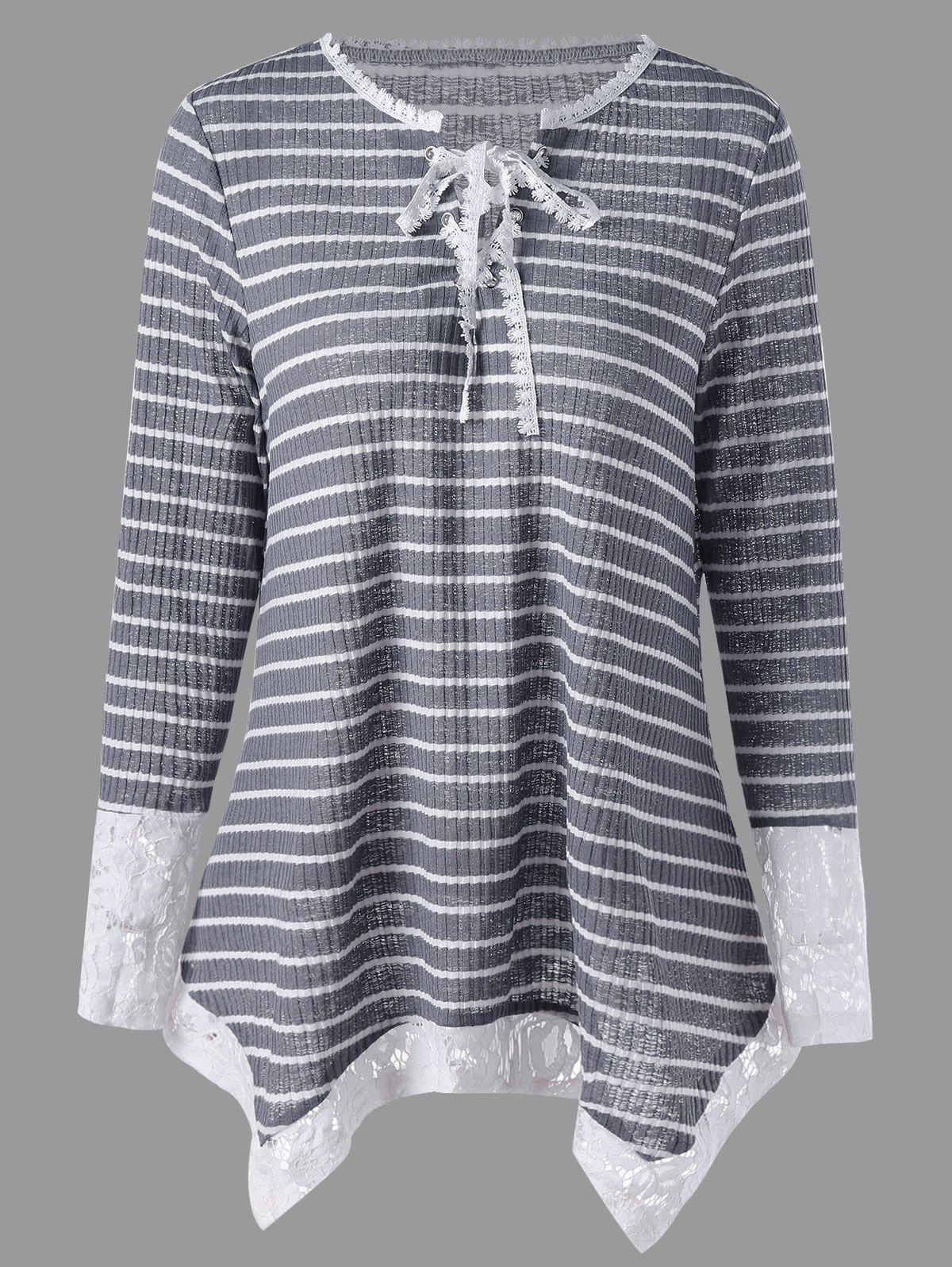 Plus Size Striped Lace Up Asymmetric KnitwearWOMEN<br><br>Size: 4XL; Color: GREY AND WHITE; Type: Pullovers; Material: Rayon,Spandex; Sleeve Length: Full; Collar: Crew Neck; Style: Casual; Season: Fall,Spring; Pattern Type: Striped; Weight: 0.2500kg; Package Contents: 1 x Knitwear;