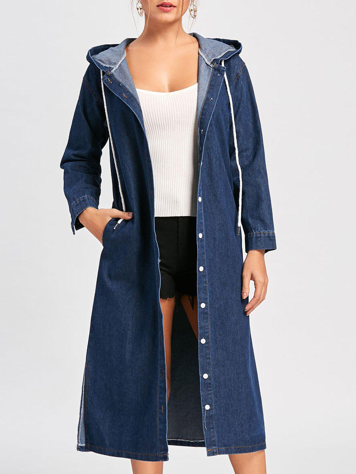 Shops Drawstring Hooded Denim Jacket