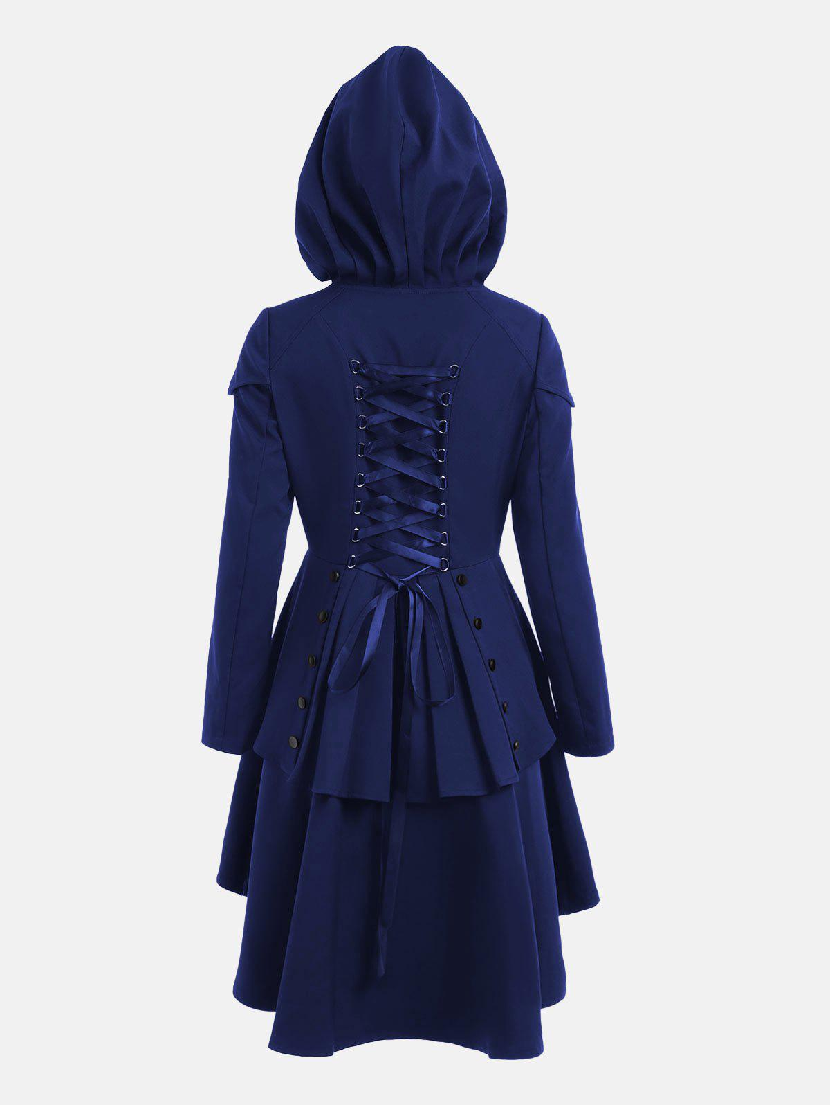 Lace Up Layered High Low Hooded CoatWOMEN<br><br>Size: M; Color: ROYAL; Clothes Type: Others; Material: Polyester; Type: High Waist; Shirt Length: Long; Sleeve Length: Full; Collar: Hooded; Closure Type: Single Breasted; Pattern Type: Solid; Embellishment: Criss-Cross; Style: Gothic; Season: Fall,Spring; With Belt: No; Weight: 0.6600kg; Package Contents: 1 x Coat;