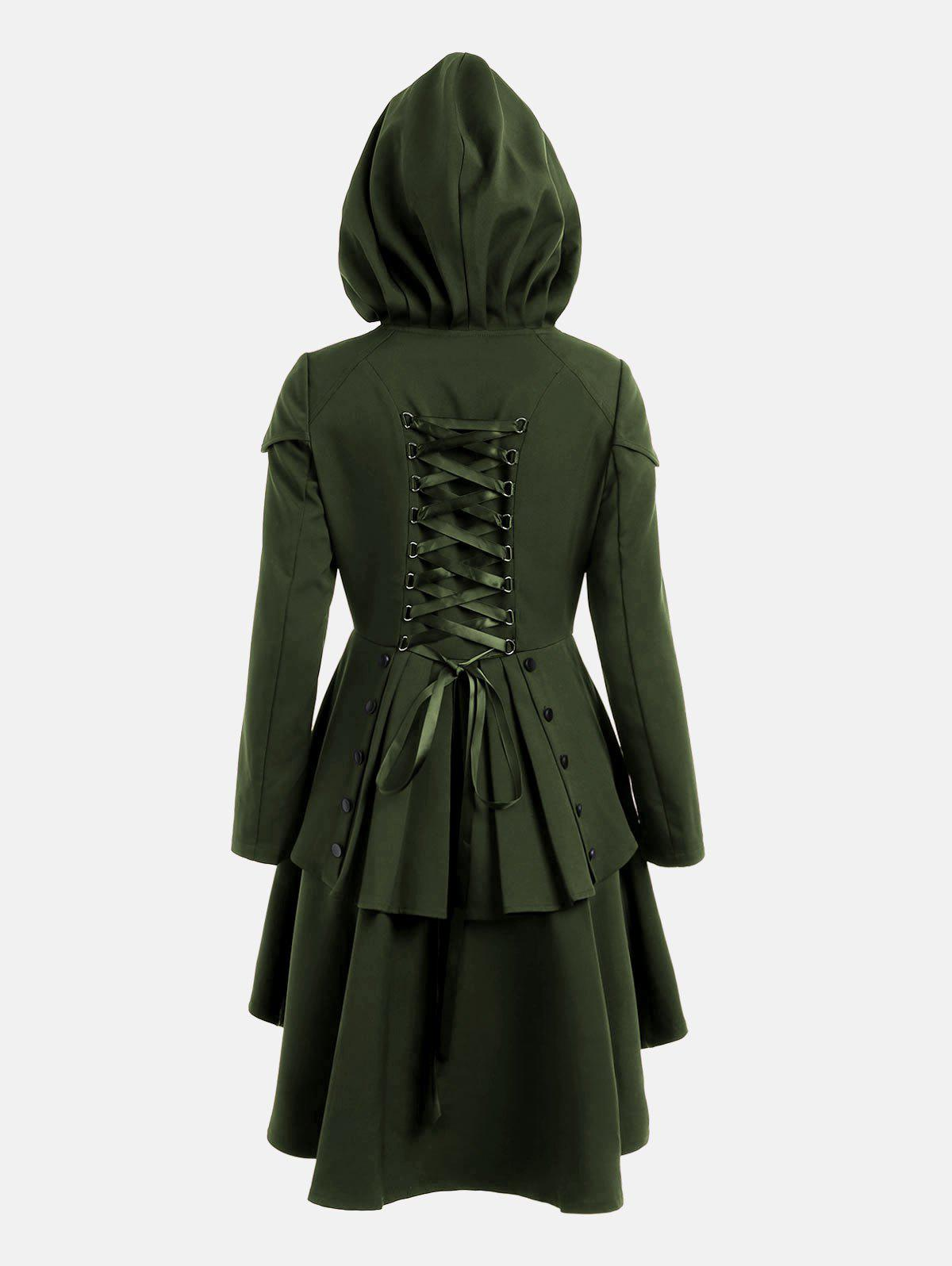 Lace Up Layered High Low Hooded CoatWOMEN<br><br>Size: M; Color: ARMY GREEN; Clothes Type: Others; Material: Polyester; Type: High Waist; Shirt Length: Long; Sleeve Length: Full; Collar: Hooded; Closure Type: Single Breasted; Pattern Type: Solid; Embellishment: Criss-Cross; Style: Gothic; Season: Fall,Spring; With Belt: No; Weight: 0.6600kg; Package Contents: 1 x Coat;