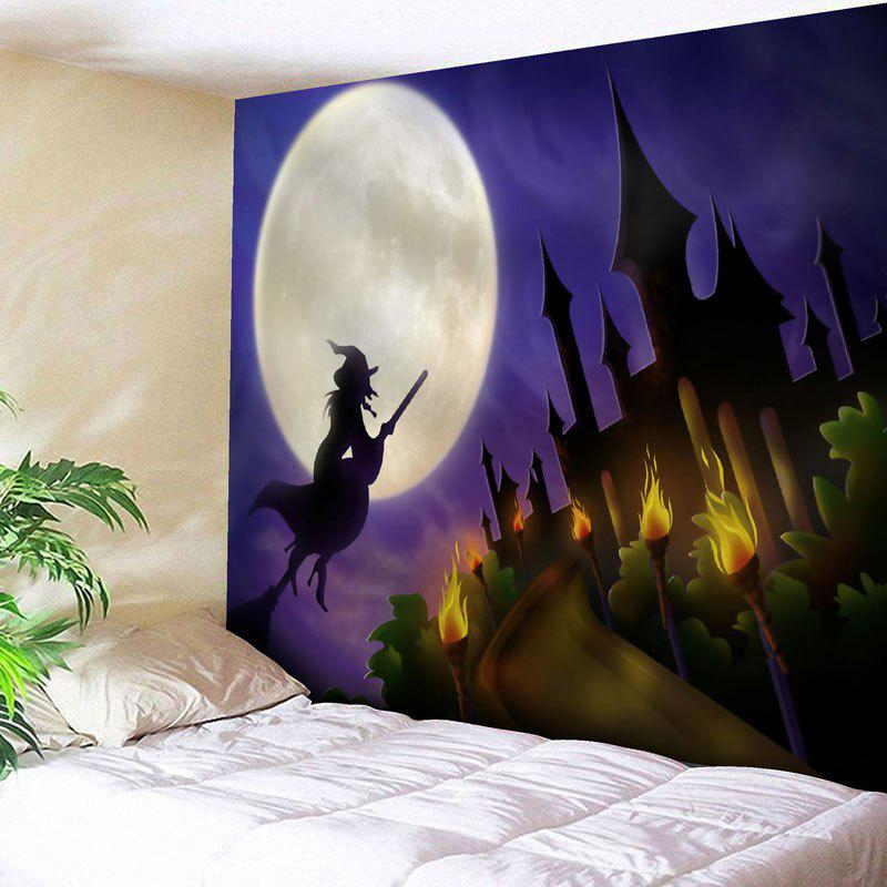 Halloween Moon Witch Print Wall TapestryHOME<br><br>Size: W59 INCH * L51 INCH; Color: PURPLE; Style: Festival; Theme: Halloween; Material: Nylon,Polyester; Feature: Removable,Washable; Shape/Pattern: Buildings,Moon; Weight: 0.1800kg; Package Contents: 1 x Tapestry;
