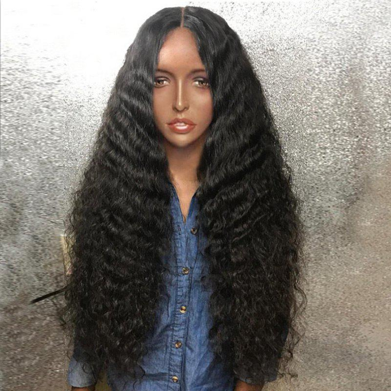 Long Middle Part Fluffy Deep Wave Synthetic WigHAIR<br><br>Color: BLACK; Type: Full Wigs; Cap Construction: Capless (Machine-Made); Style: Deep Wave; Material: Synthetic Hair; Bang Type: Middle; Length: Long; Length Size(CM): 80; Weight: 0.2940kg; Package Contents: 1 x Wig;