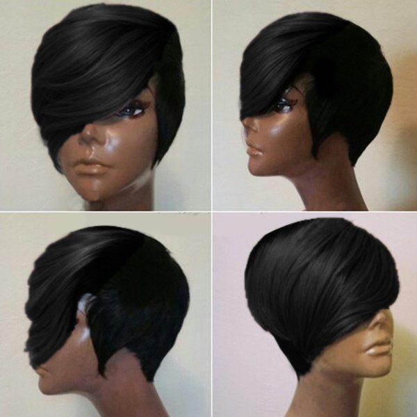 Short Layered Straight Synthetic Wig With Long Inclined BangHAIR<br><br>Color: BLACK; Type: Full Wigs; Cap Construction: Capless; Style: Straight; Material: Synthetic Hair; Bang Type: Side; Length: Short; Length Size(CM): 25; Weight: 0.1200kg; Package Contents: 1 x Wig;