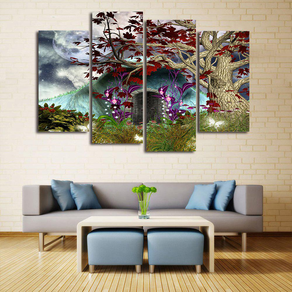 Shop Moon Tree Cave Print Unframed Split Canvas Paintings
