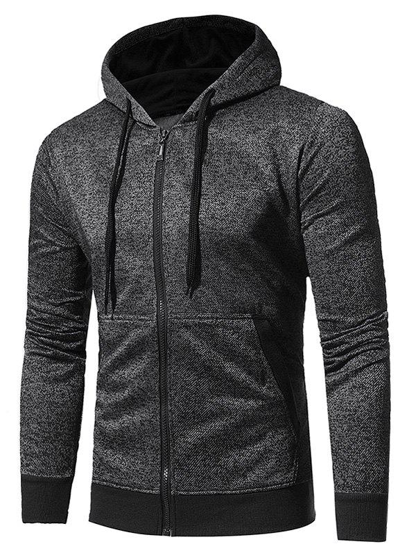 Pouch Pocket Fleece Zip Up HoodieMEN<br><br>Size: 3XL; Color: BLACK; Material: Cotton,Polyester; Shirt Length: Regular; Sleeve Length: Full; Style: Fashion; Patterns: Solid; Weight: 0.5800kg; Package Contents: 1 x Hoodie;