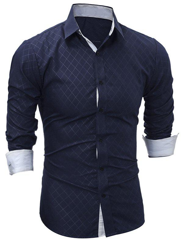 Long Sleeve Rhomboids Pattern ShirtMEN<br><br>Size: XL; Color: CADETBLUE; Shirts Type: Casual Shirts; Material: Cotton,Polyester; Sleeve Length: Full; Collar: Turndown Collar; Pattern Type: Geometric; Weight: 0.2300kg; Package Contents: 1 x Shirt;
