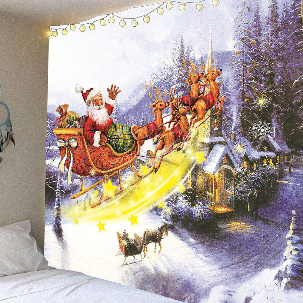 Waterproof Christmas Carriage and Castle Printed Wall Hanging TapestryHOME<br><br>Size: W59 INCH * L51 INCH; Color: COLORFUL; Style: Festival; Theme: Christmas; Material: Velvet; Feature: Removable,Washable,Waterproof; Shape/Pattern: Santa Claus; Weight: 0.2100kg; Package Contents: 1 x Tapestry;